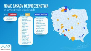 Photo of Aktualizacja listy powiatów z dodatkowymi obostrzeniami! W strefie czerwonej 2 powiaty, w żółtej – 19